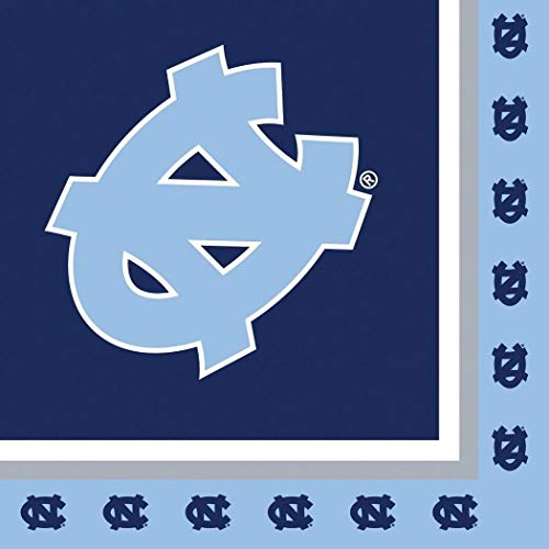 (North Carolina Tar Heels NCAA Napkins Football Game Day Sports Themed College University Party Supply NFL SEC Basketball Napkins for Beverage for 20 Guests Blue White Paper Napkins)