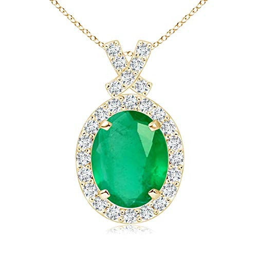 Vintage Style Emerald Pendant with Diamond Halo in 14K Yellow Gold (9x7mm Emerald)