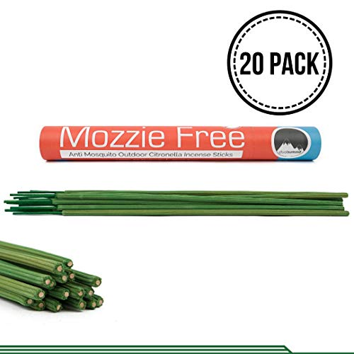 Premium Mosquito Repellent Sticks, Citronella Scented, All Natural Outdoor Bug Deterrent,Lasts For Almost 3 HOURS, Pleasurable Incense Aroma, Works With Other Flying Insects.DEET FREE! (Pack of 20)