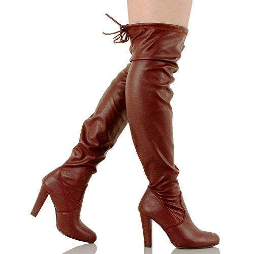 Guilty Schuhe Damen Komfortable Stretchy Chunky Blockabsatz Fitted Zurück Tie - Oberschenkel Hohe Overknee Winterstiefel Burgunderv1 Pu