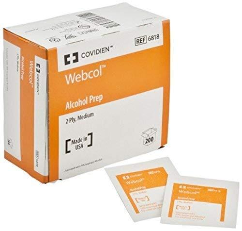 Kendall 6818 Webcol Premium Alcohol Prep, Sterile, 2 Ply, Medium (20 Boxes of 200)