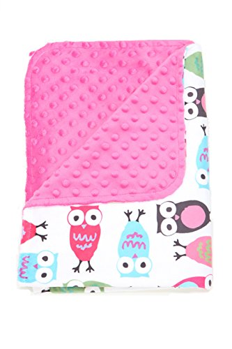 Nap Mat Carriers' Baby Blanket Textured Dot Blanket with(Pink) Owl Pattern - Minky Toddler Blanket