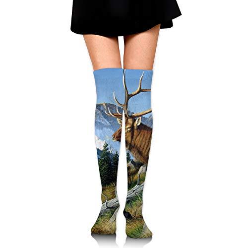 (High Elasticity Girl Cotton Knee High Socks Uniform Wild Deer With Long Horn Women Tube)