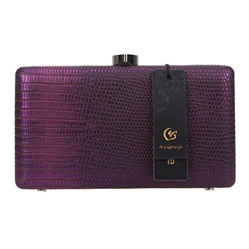 Cuir Femme De Purple Bonjanvye En Pochette Et Soirée Brillant Sac XqxT86