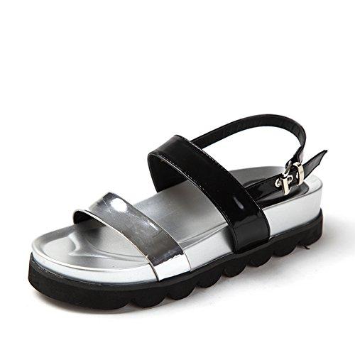 Flache Fußlänge Sohlen Sommersandalen dicke 8cm Peeptoe Plattform 22 Damenschuhe 9inch b HxPqRCIwP