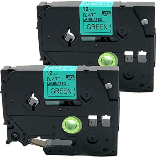2PK Black on Green Label Tape Compatible for Brother TZ TZe 731 TZ-731 TZe-731 12mm P-Touch 8m 0.47