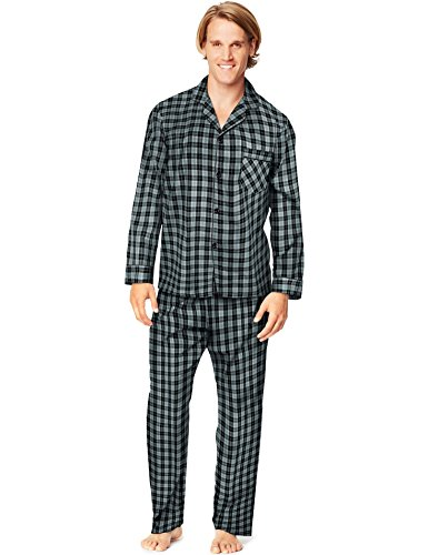 Hanes Men`s Woven Pajamas, L, Grey (Mens Pj Set)