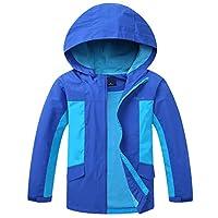 Jingle Bongala Boys Waterproof Hooded Rain Jacket Windbreaker Lightweight Raincoat (Royal Blue, 7-8Y(Height 51.18