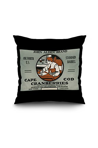 Alden Cape (Cape Cod, Massachusetts - John Alden Brand Cranberry Label (18x18 Spun Polyester Pillow, Black)