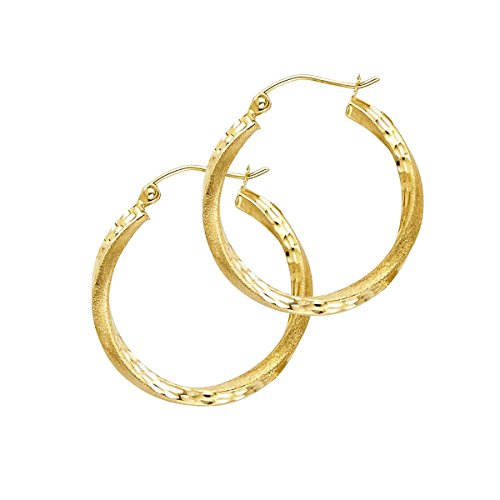 14K Yellow Gold 2.6mm Diamond Cut Satin Hoop Earrings - Diameter - 20 MM) by Top Gold & Diamond Jewelry