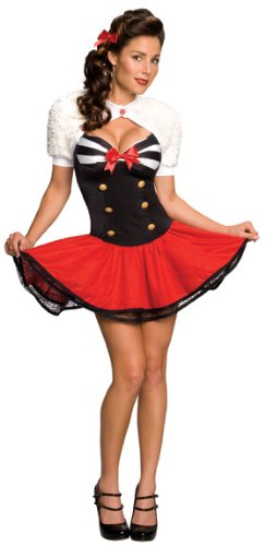 Secret Wishes  Naval Pin Up Costume, Red, (Pinup Halloween Costume)