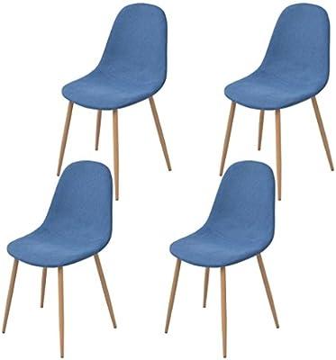 vidaXL 4X Sillas de Salón Comedor Tapizadas de Tela Azul con Patas ...