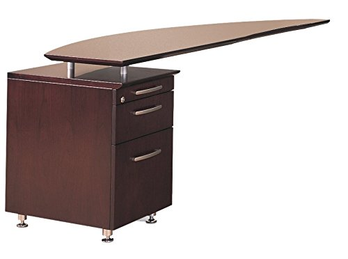 Mayline Napoli Series Left Curved Desk Return with Pencil-Box-File Pedestal,