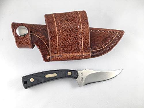 Custom Water Buffalo Antique Brown Sheath for Schrade Old Timer Sharp Finger Knife; Cross Draw, can be Worn on Either Right or Left-Hand Side. Pliable and Durable. Knife not Included.Made in USA