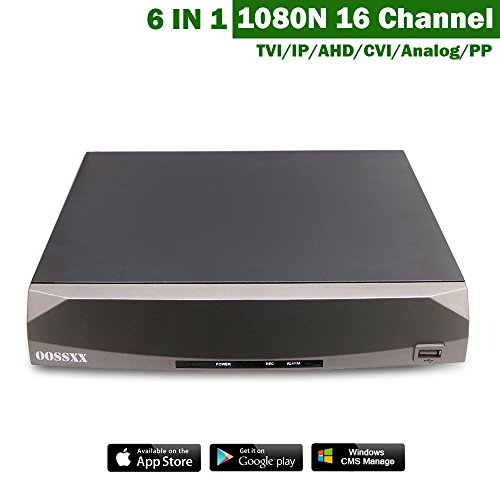 OOSSXX 1080N 16 Channel 6 IN 1 DVR Digital Video Record TVI/IP/AHD/CVI/Analog/PP Mix Input With HDMI/VGA/CVBS/RS485 No HDD