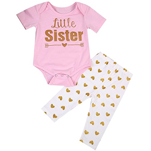 Baby Girls Big Little Sister Family Matching Clothing Set +Gold Heart Long Pants Outfit Set (18-24 Months, Little Sister)