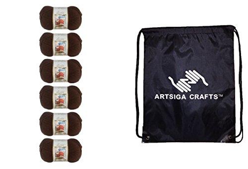 Bernat Satin Solid Yarn (6-Pack) Mocha 164104-04013 with 1 Artsiga Crafts Project (Bernat Satin Knitting Yarn)