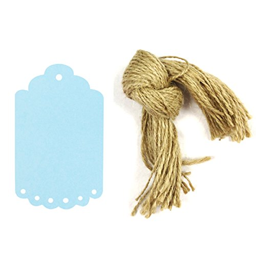 Wrapables 50 Count Gift Tags/Kraft Hang Tags with Free Cut Strings for Gifts, Crafts and Price Tags, Small Scalloped Edge, Blue
