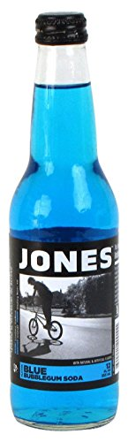 Jones Soda, Blue Bubble Gum, 12 Ounce (12 Glass Bottles)