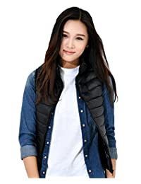 KUKI SHOP Women's Packable Down Vest Jacket Lightweight Down Gilet Coat Puffer Winter
