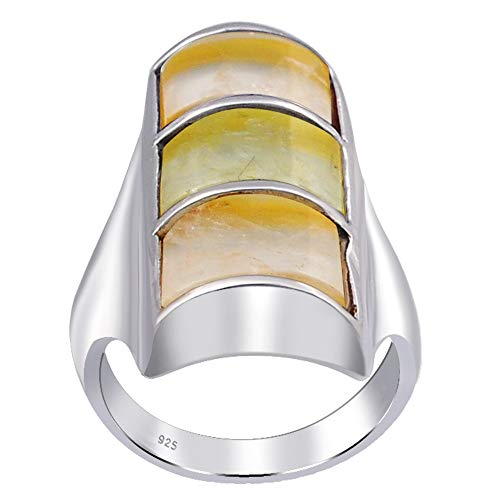 3 Ct Yellow Fancy Prehnite And Agate 925 Sterling Silver Ring For Women: Nickel Free Cute And Simple Birthday Gift For Sister: Ring Size-6