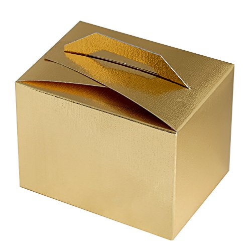BalsaCircle 100 Gold Wedding Favors Tote Boxes with Handles for Wedding Party Birthday Candy Gifts Decorations Supplies Wholesale