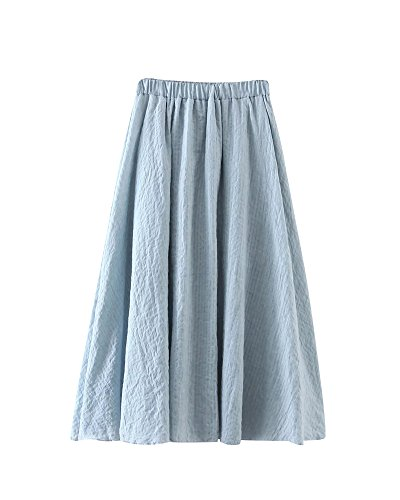Femme Lin Couleur Pure Jacquard Grand Pendule Jupe vase t Casual Taille Haute Jupe Longue De Plage Lache Jupe  Volants Bleu Ciel