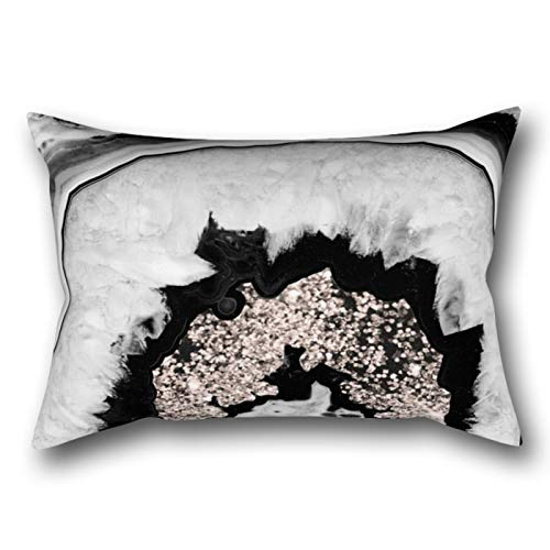 LVTIAN Gray Black White Agate Rose Gold Glitter Rectangular Pillowcase Protector Cover 20x30 Inch (Gold Rose White Agate)
