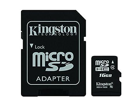Kingston Digital 16 GB Class 4 microSDHC Flash Card with SD Adapter (SDC4/16GBET) - Card Microsd Card