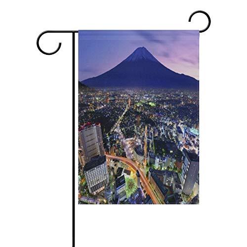GOOESING Double Sided Family Flag Mt. Fuji and Flourishing City Yokohama Polyester Outdoor Flag Home Party Garden Flag 12x18 Inch ()