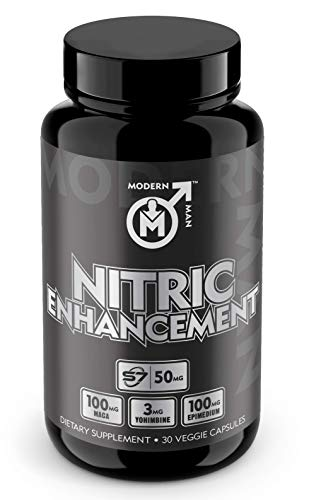 Nitric Oxide Enhancement by Modern Man - Pump Enhancing Alpha Male Booster for Men - Yohimbine HCL, Maca Root | Increase Strength, Size & Stamina | Muscle Gain Supplement - 30 Pills