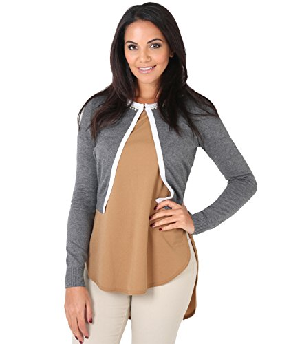 Silk Blend Sweater Dress (KRISP Pearl Neck Silk Knitted Cardigan (Grey, Small/Medium),[5815-GRY-SM])