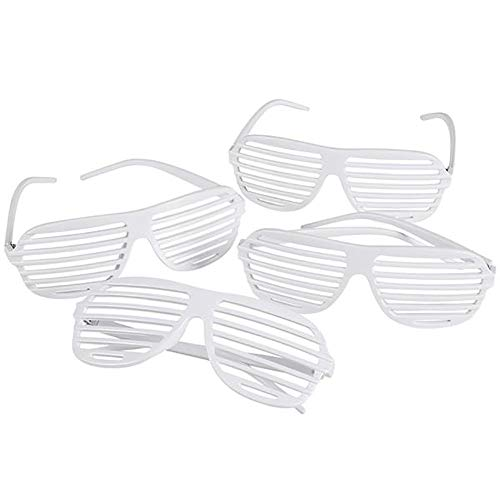 White Shutter Glasses - 12 Pack 80's Flair Unisex No Lens Aviators in Plain Color - Gift, Costume Props, Party Favors, Class Rewards, Getaway Accessories for Kids and Adults Alike