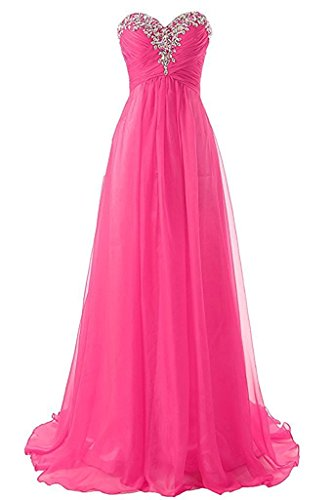 (Loffy Sweetheart Formal Evening Dresses Strapless Long Prom Gown Bridesmaid Dress Fuchsia Size 22)