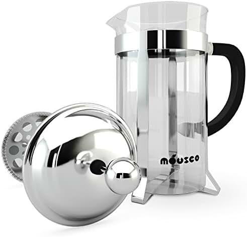 Miusco Heat Resistant Borosilicate Glass French Press Coffee Tea & Espresso Maker, 1 Liter 34 Oz