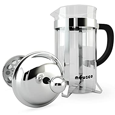 Miusco Heat Resistant Borosilicate Glass French Press Coffee Tea & Espresso Maker, 1 Liter 34 Oz