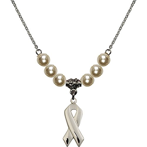 18-Inch Rhodium Plated Necklace with 6mm Faux-Pearl Beads and Cancer Awareness Charm ()