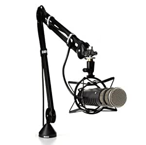 Ultimate Broadcast Bundle: Rode Procaster – Large Capsule Broadcast Quality Dynamic Microphone with Rode PSA 1 Swivel Mount Studio Microphone Boom Arm and Rode PSM 1 Shockmount; For Broadcasting