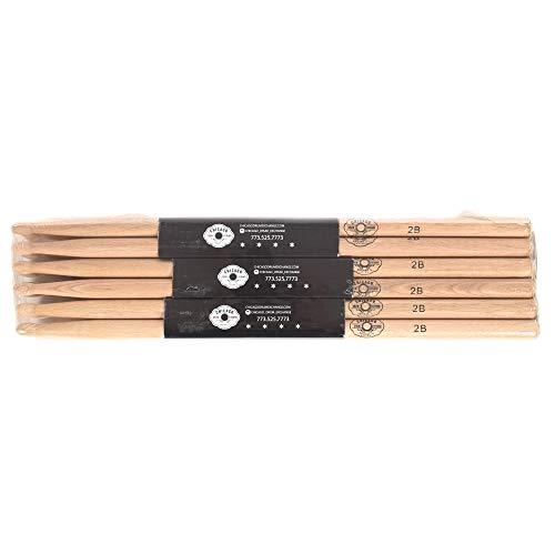 CDE 2B Wood Tip Custom Selected Hickory Drum Sticks (12 Pair Bundle) ()