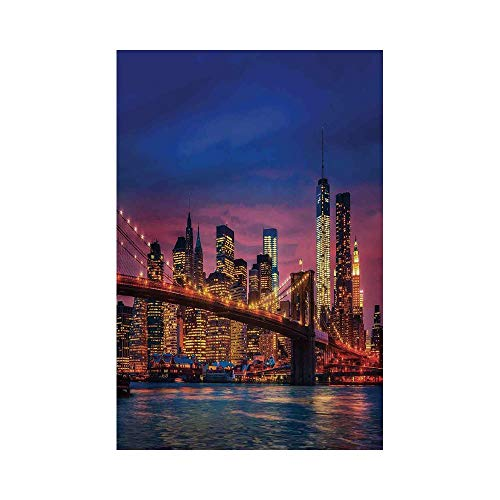 Polyester Garden Flag Outdoor Flag House Flag Banner,New York,NYC That Never Sleeps Image Neon Lights Reflections on East River City Image Print,Pink Blue,for Wedding Anniversary Home Outdoor Garden D