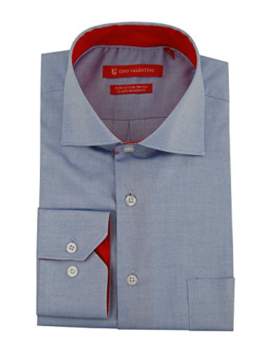 Gino Valentino Men's 100% Cotton Barrel Cuff Dress Shirt (18