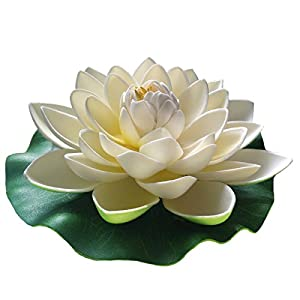 Emmix Floating Flower Foam Lotus Artificial Water Lily White for Home and Party Decoration and Holiday Celebration 7 Inches Set of 4 6