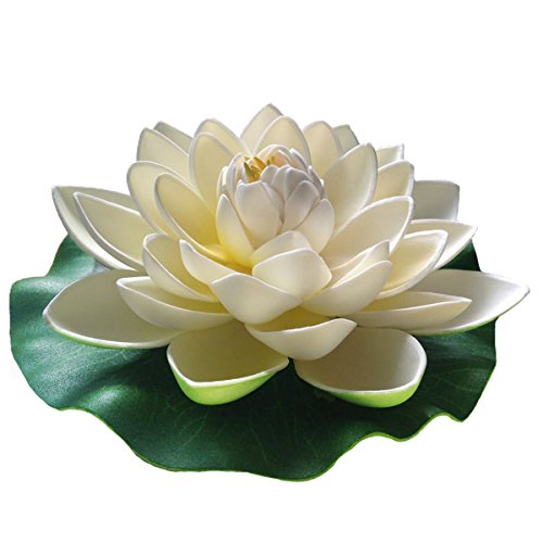 Emmix Floating Flower Foam Lotus Artificial Water Lily White for Home and Party Decoration and Holiday Celebration 7 Inches Set of ()