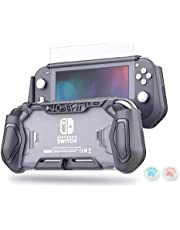 LeyuSmart Protective Case with High Clear Tempered Glass Screen Protector for Nintendo Switch Lite, Grey Color