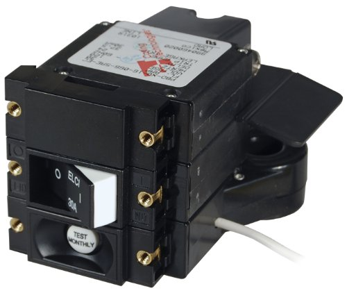 Blue Sea Systems 3102100 A-Series Double Pole 120V AC 30A ELCI Main Circuit Breaker ()