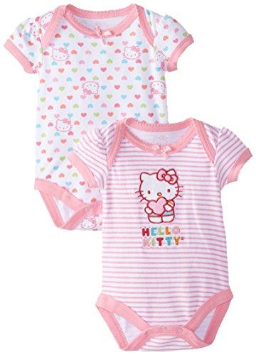 Hello Kitty Baby-Girls Newborn 2 Pack Bodysuit Stripes Hearts, Pink, 3-6 Months