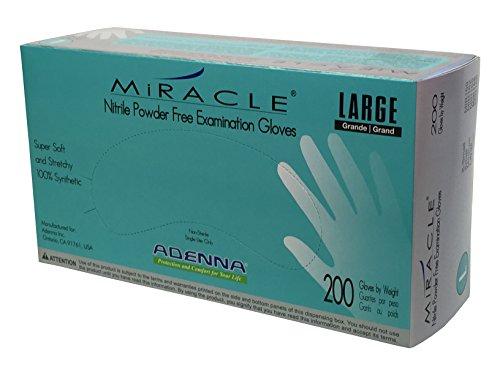 Adenna Miracle 3.5 mil Nitrile Powder Free Exam Gloves (Blue, Large) Box of 200