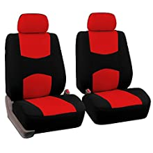 FH Group Universal Fit Flat Cloth Pair Bucket Seat Cover, (Red/Black) (FH-FB050102, Fit Most Car, Truck, Suv, or Van)