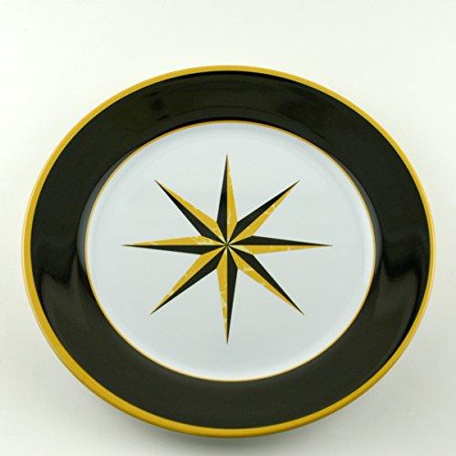 Galleyware Black Compass Melamine Non-Skid Dinner Plates, Set Of 6 (Non Skid Plates)