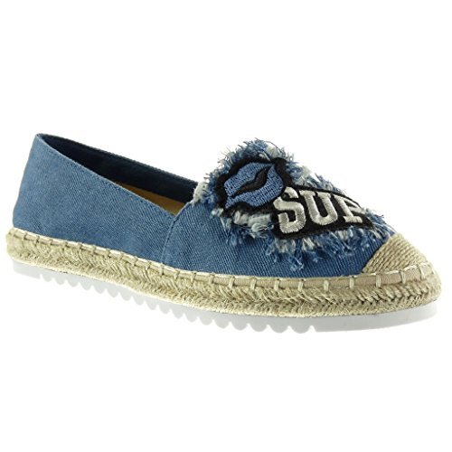 Angkorly Women's Fashion Shoes Espadrilles Mocassins - Slip-on - Sneaker Sole - Fantasy - Embroidered - Cord Flat Heel 2.5 cm Blue MPCNZ0B